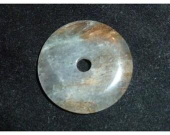 Donut pendant Chinese pi Labradorite 35mm 35 mm diameter