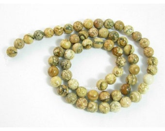 Wire 64 round beads 6mm 6 mm Jasper landscape