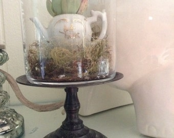 miniature teapot terrarium on stand