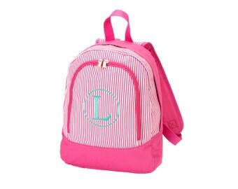 Monogram Preschool Backpack Pink Pinstripe