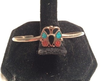 Vintage 925 sterling silver handcraft turquoise & coral cuff bracelet Butterfly design (B26)