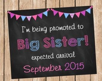 Big Sister Announcement, Pregnancy Announcement, Chalkboard Style