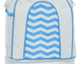 Insulated lunch bag - Day pack - Blue Chevron