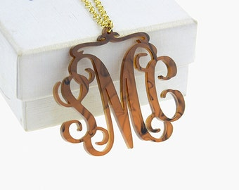 Acrylic Monogram Necklace,Tortoise Monogram Necklace,Acrylic Necklace,Personalized Necklace,Custom Necklace,Initials Necklace N007