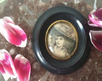 Old miniature Watercolour portrait