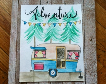 Adventure camper 8x10 watercolor - rv trailer - nature watercolor - oregon art - camper art