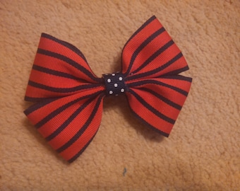 Small Red & Black Striped Hair Bow