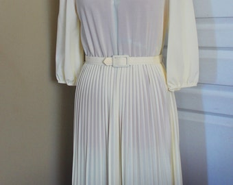VTG Color Blocked 60s Pleated Dress