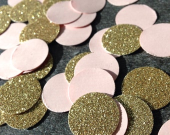 Gold Glitter & Pink Confetti ~ Bridal Shower ~ Baby Shower ~ Wedding ~ Anniversary ~ Birthday ~ Event ~ Party ~ 3/4 Inch Circle Confetti