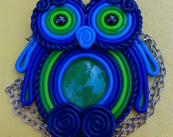 Polymer Clay Filigree Owl Necklace