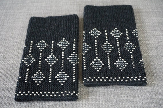 Black and cream beaded wrist warmers/ knitted wristlets with beads / woollen cuffs – ready to ship