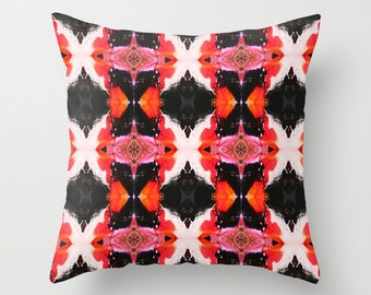 "Throw Cushion Cover - Red, Black and White abstract art print 20"" x 20"""