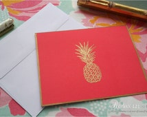Gold Embossed Pineapple Note Cards (Set of 4)