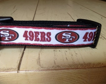 1 Inch Wide Custom Made Adjustable SF 49ers Grosgrain Dog Collar