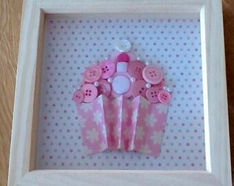 Pink framed button cupcake
