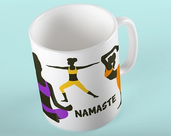 Coffee Mug Yoga Poses Mug - Namaste Mug