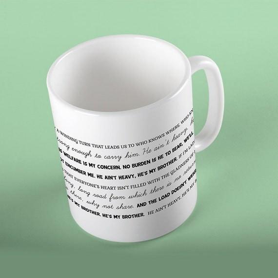 Coffee Mug He Ain't Heavy - He's My Brother Lyrics Mug