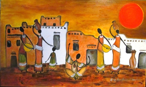 African village. Large oil painting. Painting oil. canvas oil.Colours; brown, orange, yellow, black, white. ready to ship