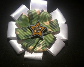 Ivory and camoflauge with star bow