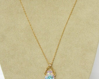 Mystic cz pendant with gold filled chain, mystic cz pendant, gold filled necklace
