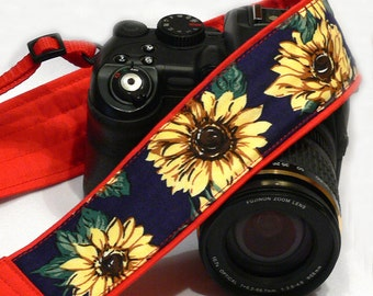 Sunflowers Camera Strap. Yellow Blue Green and Red Camera Strap. Canon Nikon Camera Strap. Padded Camera Strap. Accessories