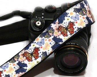 Butterflies Camera Strap. Nikon Canon Camera Strap. Gift for Her. Camera Accessories.