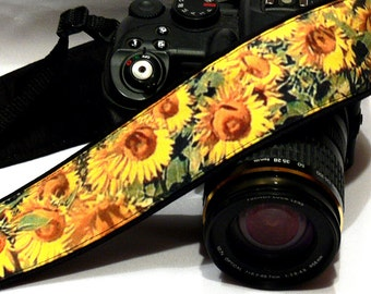 Camera Strap. Yellow Sunflowers Camera Strap. Canon Nikon Camera Strap. DSLR Camera Strap. Photo Gear. Camera Accessories. Holiday Gift.