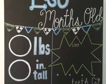 Hand Painted Reusable Chalkboard Poster for Monthly Baby Pictures