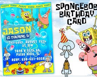 SpongeBob invitation Spongebob birthday card invitation