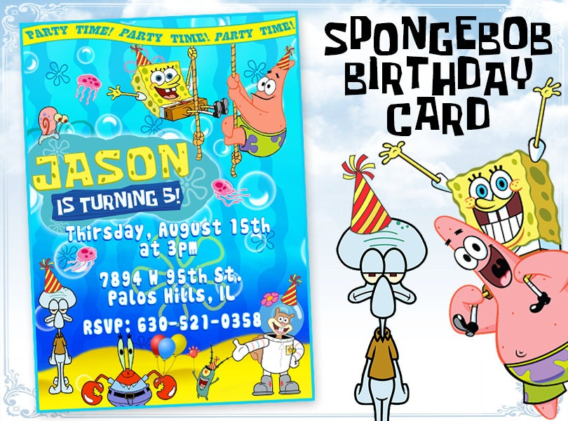 spongebob birthday cards – gangcraft, Invitation templates