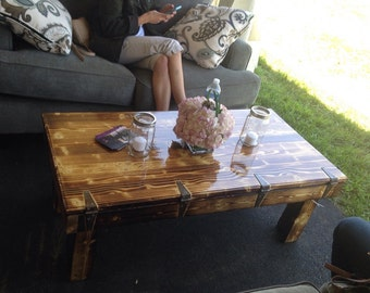 Rustic Coffee table with faux bottom