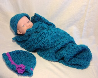 Teal/Green Shell Pattern crochet Baby Cocoon and hat, Newborn Cocoon, Infant Cocoon, Boy Cocoon, Girl Cocoon, Baby Photo Prop
