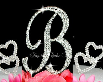 Large Monogram Letter B OR A WITH  Hearts script Cake Topper in rhinestones wedding cake topper birthday Silver Gold
