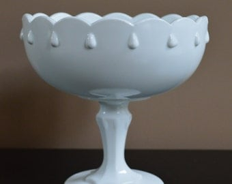 Vintage Indiana Glass Teardrop  Compote Milk Glass / Milk Glass Planter