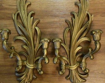 """ON SALE-vntg wood Syroco gilt DOUBLE sconces for your wall just lovely 18""""tall classic mid century quality and design"""