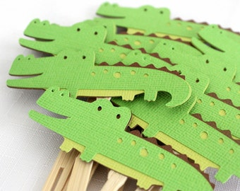 12 x Alligator/ Crocodile Cupcake Toppers - zoo, jungle