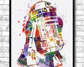 Instant Digital Download Star Wars R2D2 Watercolor Print Watercolor Painting Wall Hanging Giclee Wall Print Movie Art Poster Birthday Gift