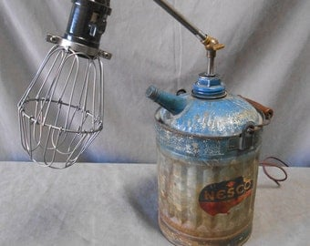 Industria,l Machine Age, Steampunk, Rat Rod, Repurposed, Upcycled, Recycled, Nesco, Oil Can, Articulated, Lamp, Light Active