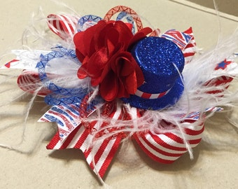 Large Funky 4th of July Hair Bow