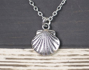 sea shell necklace, long necklace option, silver shell charm on silver plated chain, beach wedding, bridesmaid gift, bridesmaid jewelry