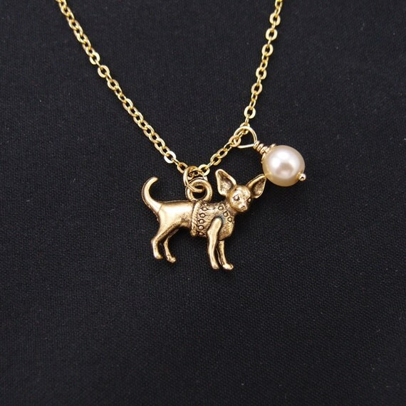 chihuahua necklace swarovski pearl choice necklace