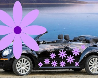20, Lilac & purple daisy flower car decals,stickers in three sizes