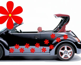 28 Red hippy flower car decals,stickers, graphics 100mm diameter.