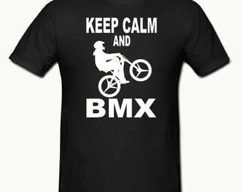 Keep calm & bmx boys t shirt sizes 5-15 years,childrens bmx t shirt