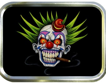 Smoking clown design 2oz gold tobacco tin,pill box,storage tin