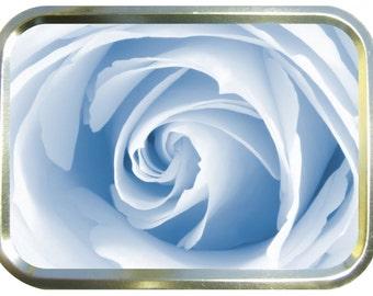 White rose design 2oz gold tobacco tin,pill box,storage tin