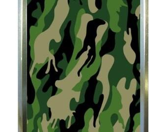 Green camouflage design 1oz gold tobacco tin,pill box,storage tin