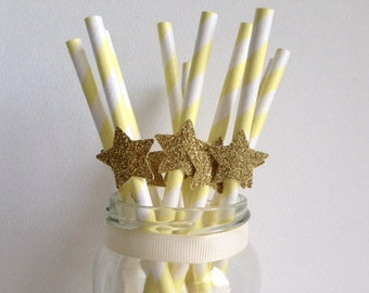 Birthday Wedding Party Pale yellow Stripe and Glitter Gold Star Straws