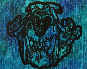 Disillusion, 24 x 30 lion skull acrylic painting