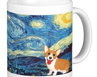 0620 Starry Night Corgi Ceramic Coffee Mug